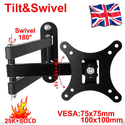 TV Wall Mount Bracket Tilt Swivel 14 16 18 20 21 22 23 24 26 30 LCD LED Monitor • 7.98£