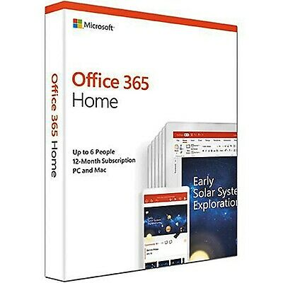 AU119.18 • Buy Microsoft Office 365 Home 2019 1 Year Subscription Medialess PC 6 User 6GQ-00929