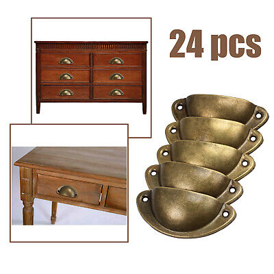 AU20.85 • Buy 24pcs Cupboard Door Cabinet Retro Drawer Kitchen Furniture Antique Shell Handle