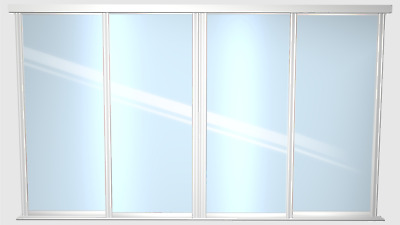 £680 • Buy 4 Sliding Mirror Doors - Made To Measure - Includes Tracks