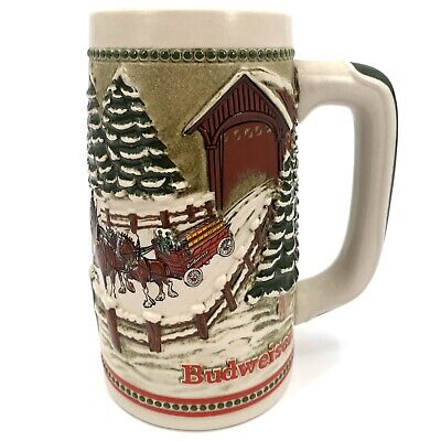 $ CDN19.62 • Buy 1984 Budweiser Clydesdale Holiday Beer Stein Covered Bridge Snowy Winter's Eve