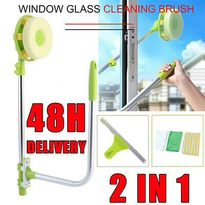 U-type Telescopic Window Cleaning Pole Cleaner Brush Squeegee Cleaning Glass Set • 14.79£