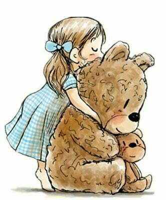 Girl Hug Teddy Bear Silicone Clear Stamps For Scrapbooking Transparents Seal • 7.89£