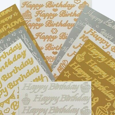 £1.98 • Buy HAPPY BIRTHDAY STICKER SETS CARD MAKING Peel Off Craft Outline Embellishments