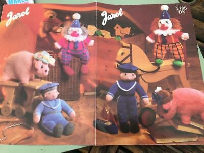 Jarol Knitting Pattern E785 Toys - Clown Pig, Sailor In DK • 2£