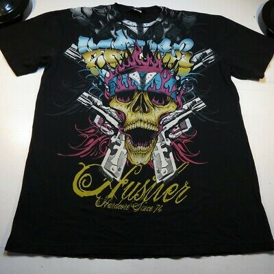 $9.99 • Buy HUSTLER CROWNED SKULL GUNS TATTOO ART TEE T SHIRT Sz Mens XL