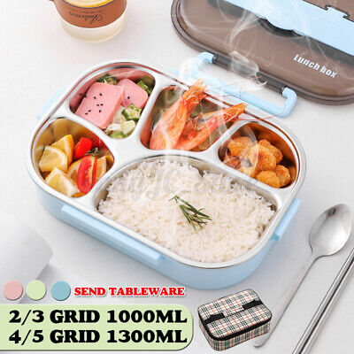 AU24.99 • Buy AU Stainless 2-5 Grid Thermal Insulated Lunch Box Bento Food Container Women 🔥