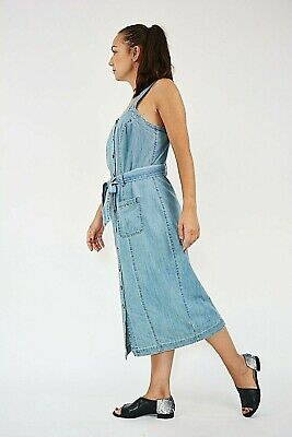 £8 • Buy New Womens Ex Matalan Blue Denim Button Front Belted Pinafore Dress Size 8-12