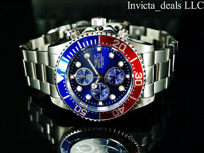 $ CDN96.72 • Buy Invicta Men's 43mm PRO DIVER Chronograph Blue Dial Red & Blue Bezel Silver Watch