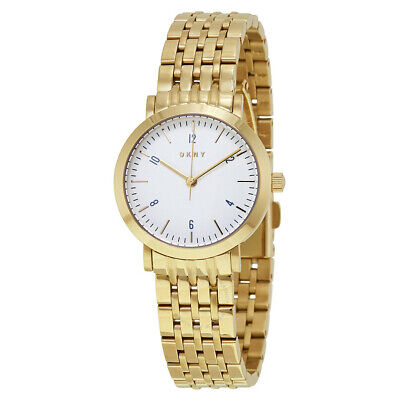 DKNY Minetta White Dial Ladies Gold Tone Stainless Steel Bracelet Watch NY2510 • 54.99£