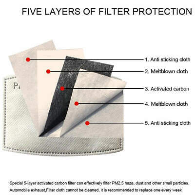 $ CDN13.99 • Buy 10x PM2.5 Face Mask Filter 5 Layers - Activated Carbon Filters Replacement