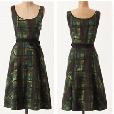$ CDN38 • Buy Anthropologie Maeve Green Painted Plaid Tulled Party Dress Women's Size 4 Petite