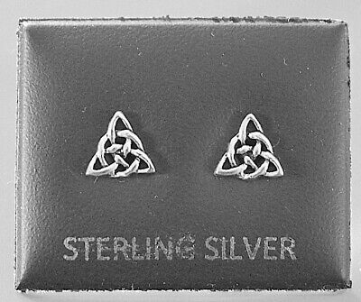 Sterling Silver 925, Stud Earrings Celtic Triangle With Butterfly Backs Stud 119 • 4.99£
