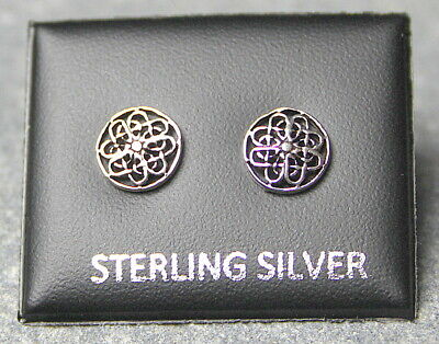 £4.99 • Buy STERLING SILVER 925, STUD EARRINGS CELTIC ROUND 8mm WITH BUTTERFLY BACKS ST 194