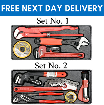 £39.99 • Buy Plumbers Set Kit Pipe Type S Adjustable Chain Off-Set Wrench Cutter PTFE Tape