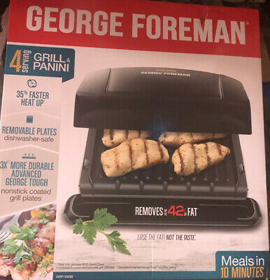 George Foreman Grill 4-Serving Panini Press With Removable Plate - Black NEW • 27.59£