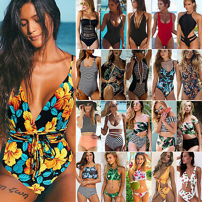 Women Girl Lady Swimming Costume Padded Swimsuit Monokini Swimwear Bikini Set • 14.99£