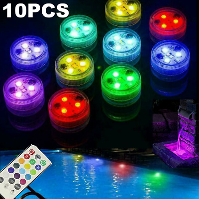 10x Submersible LED Waterproof Light RGB Lamp Wedding Party Fish Tank Home Decor • 9.39£