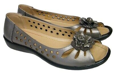 Womens Annabelle Pewter Wedge Heel Open Toe Cut Out Sandals Shoes Size 8/41 NEW • 11.99£