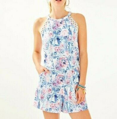 $98 • Buy LILLY PULITZER Lala Halter Romper SEA TO SHINING SEA Fireworks NWT ($138)