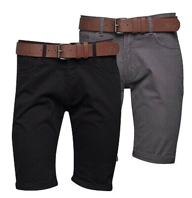 Mens Crosshatch Classic Belt Included Casual Chino Shorts Sizes From S To XXL • 21.99£