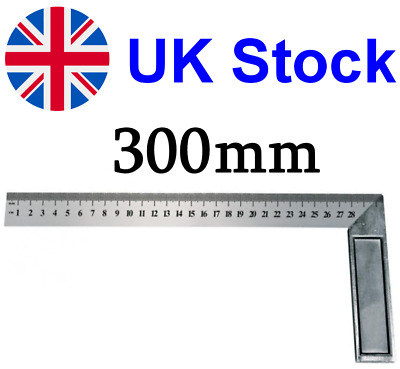 300mm (12  Inch) Engineers Try Square Set Right Angle Ruler - Heavy Duty Steel • 4.35£