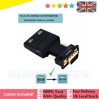 VGA INPUT To HDMI OUTPUT Adapter Video Audio Converter Cable 1080P For TV PC DVD • 7.75£