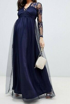 AU50 • Buy ASOS Maternity Dress Navy Formal Lace Mesh Size 10 New With Tags
