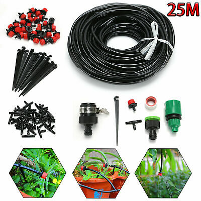 Drip Irrigation System Kit Automatic Sprinkler With 25m Pipe Garden Watering • 10.38£
