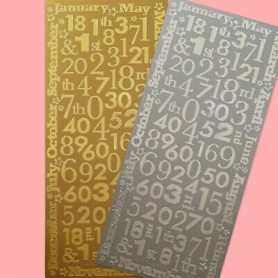 £1.98 • Buy MONTHS / NUMBERS CARD STICKERS Peel Off Outline Birthday Anniversary Baby Craft