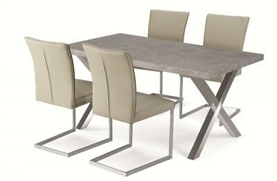 £302.01 • Buy Dining Kitchen Table Set Stone Effect Brushed Stainless Steel Legs Four Chairs