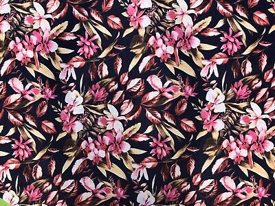 £5.99 • Buy Tropical Floral Leaves Cotton Viscose Jersey 150cm Wide