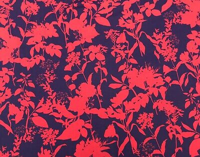 £5.99 • Buy Navy Red Floral Print Cotton Viscose Jersey 150cm Wide