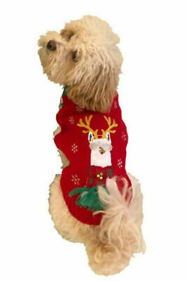 $8.54 • Buy Dog Christmas Sweater With Llama Size XS Red