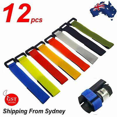 AU7.94 • Buy 12x Fishing Rod Tie Strap Tackle Wrap Band Pole Holder Fastener Fish Accessory