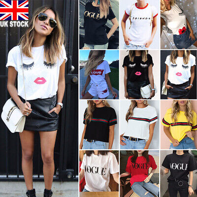 Women Letter Printed Short Sleeve T Shirt Lady Casual Crew Neck Blouse Tee Tops • 4.99£