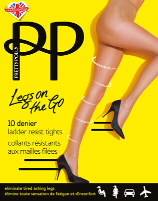 Pretty Polly Legs On The Go Ladder Resistant Tights  10 Denier Compression Tight • 5.49£