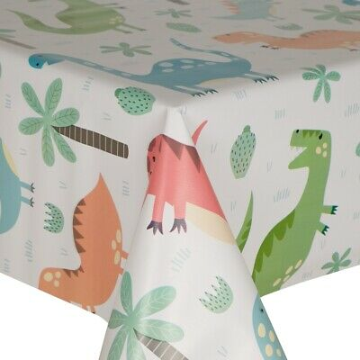 Pvc Table Cloth Jurassic Kids Dinosaurs Trees T Rex Leaves Green Wipeable Cover • 7.99£