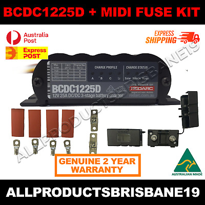 AU494 • Buy REDARC Battery Charger 12V 25A 3 Stage Auto BCDC1225D And MIDI FUSE KIT 40 AMP!!