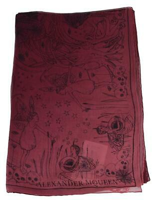 AU211.43 • Buy New Alexander McQueen Pink Black 529441 WEB OF WISHES Fairy Skull Silk Scarf
