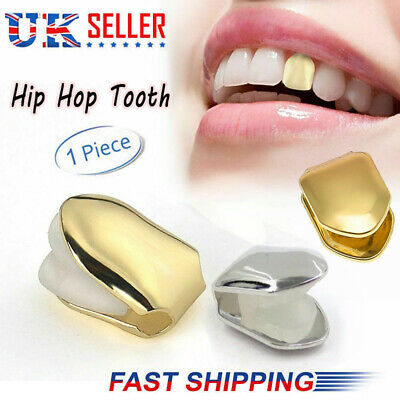 Single Gold Tooth Hip Grills Teeth Cap Plated Top Bottom Grill Hop Punk Bling UK • 3.69£