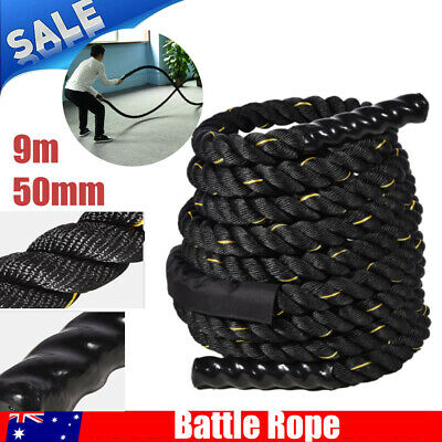AU94.77 • Buy 50mm 9M Heavy Duty Gym Battle Rope Power Strength Training Exercise Fitness