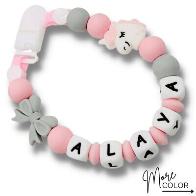 Dummy Clip Personalized Silicon Bead Pacifier Holder ~ Baby Girl ~ Pink Unicorn • 12£