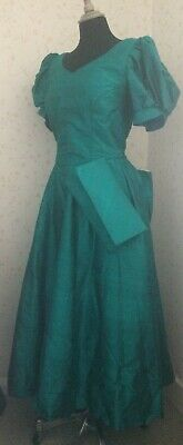 Vintage Jenni Goodwin 1980's Formal Green Bodice,skirt,bag And Hair Bow • 29.99£