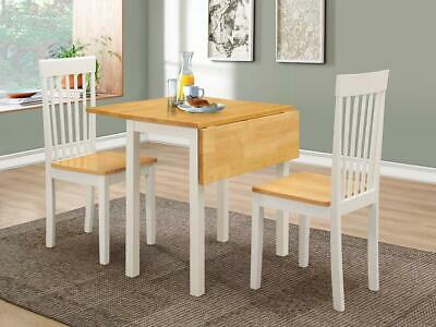 Dining Kitchen Table Set Two Drop Leaf Folding Oak Top White Frame Two Chairs   • 99.99£