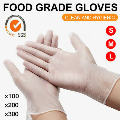 AU15.99 • Buy Clear Vinyl Disposable Gloves Powder Latex Free PVC Protective Food Up To 300pcs