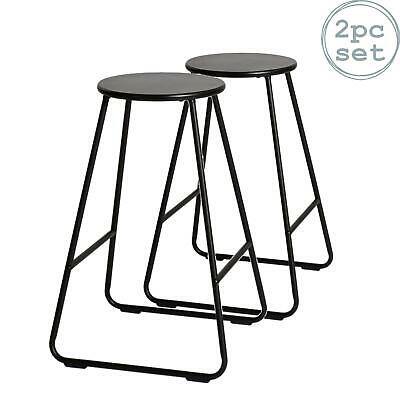 2x Wooden Bar Stools Breakfast Kitchen Island Counter Dining Chair Black / Black • 36.99£