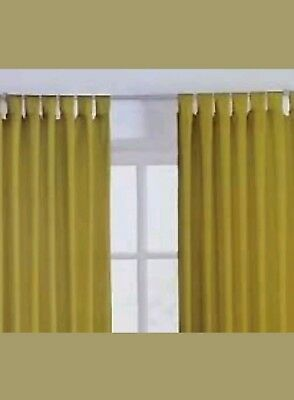 Sandown And Bourne Curtains Ring Top And Tab Top With Ties. Leaf Green Canvas • 8.95£