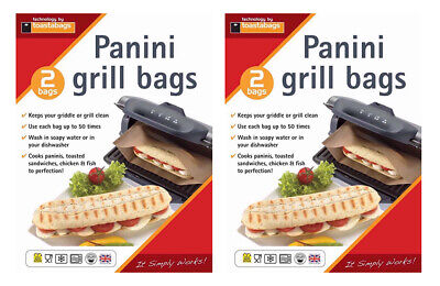 4 X Panini Grill & Griddle Bags Reusable Toasties Toasted Sandwiches • 4.23£