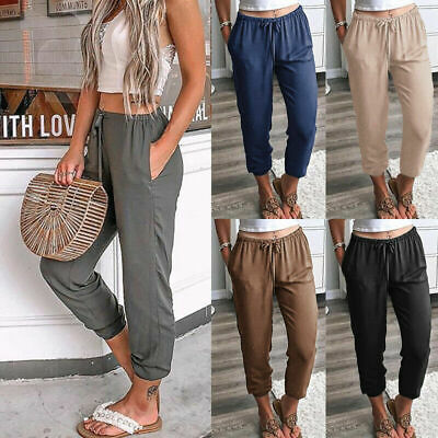 Womens Elastic Waist Cropped Ladies Trousers Joggers Lounge Wear Pants UK 8-18 • 9.78£